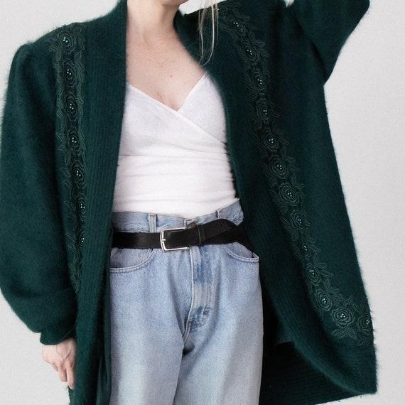 Vintage green angora floral embroidered cardigan - image 6