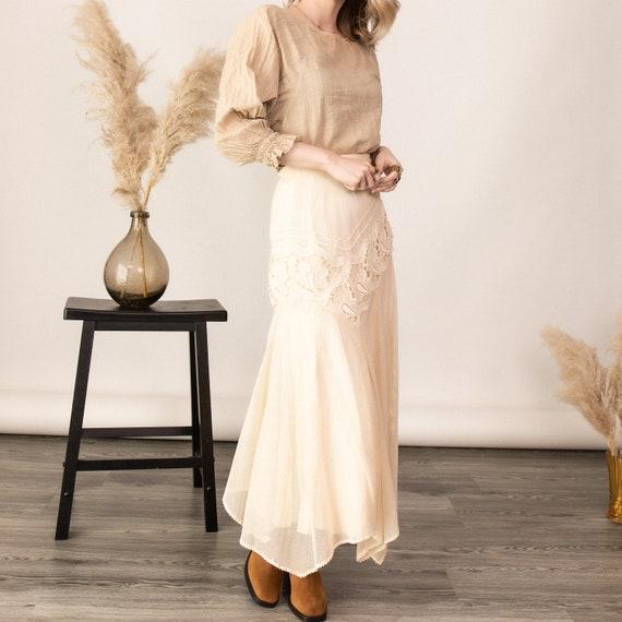 Vintage 80s white floral lace boho midi skirt