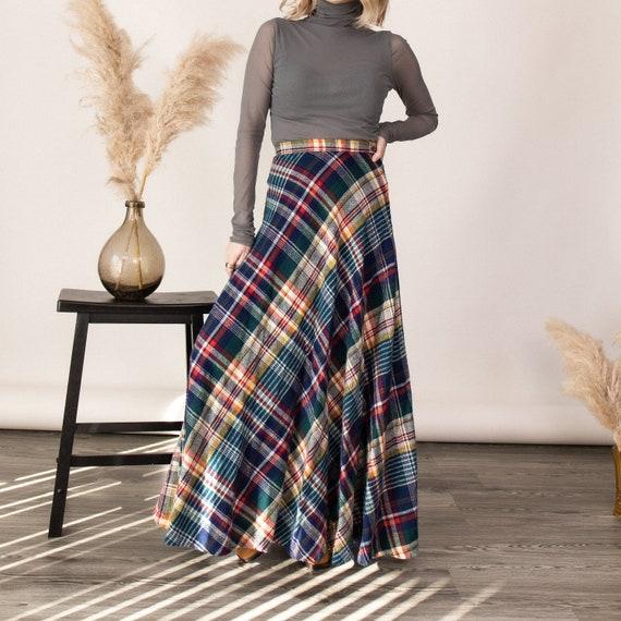 Vintage 70s tartan plaid wool pleated maxi skirt - image 4