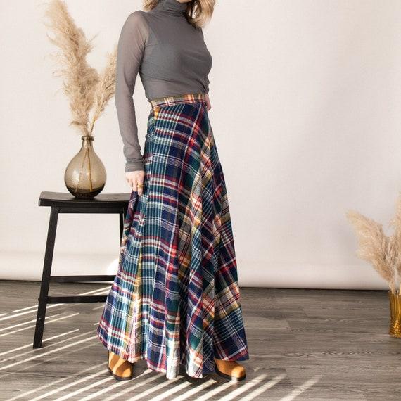 Vintage 70s tartan plaid wool pleated maxi skirt - image 5