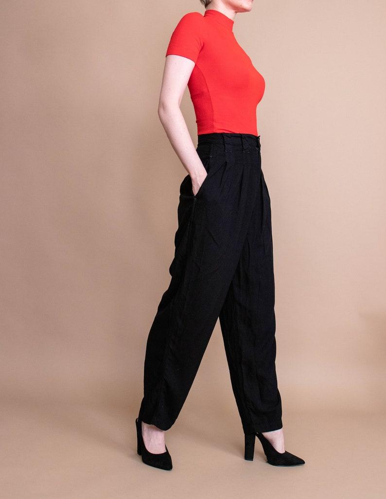 Vintage 80s black minimal high waist draped modern trouser pants 26 inch waist