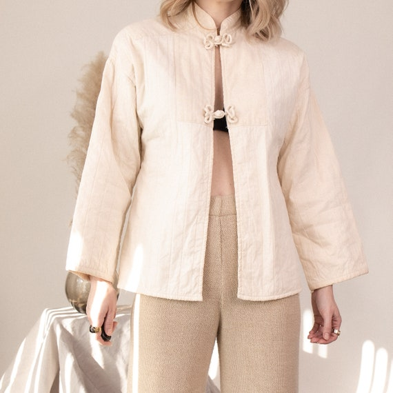 Vintage 80s cream white quilted jacket