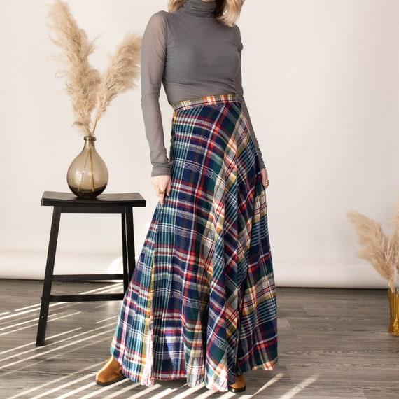 Vintage 70s tartan plaid wool pleated maxi skirt - image 3