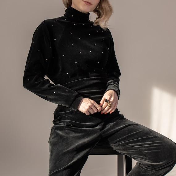 Vintage UNGARO black velvet turtleneck jumpsuit