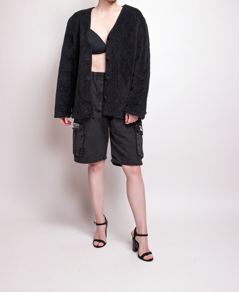Vintage 80s black quilted draped puffer jacket