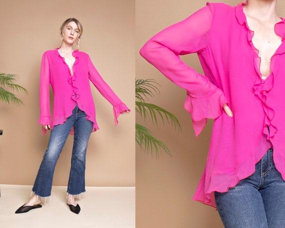 Vintage Y2K UNGARO Parallele pink silk flutter ruf