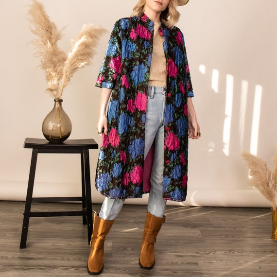 Vintage 60s floral quilt padded duster robe jacket