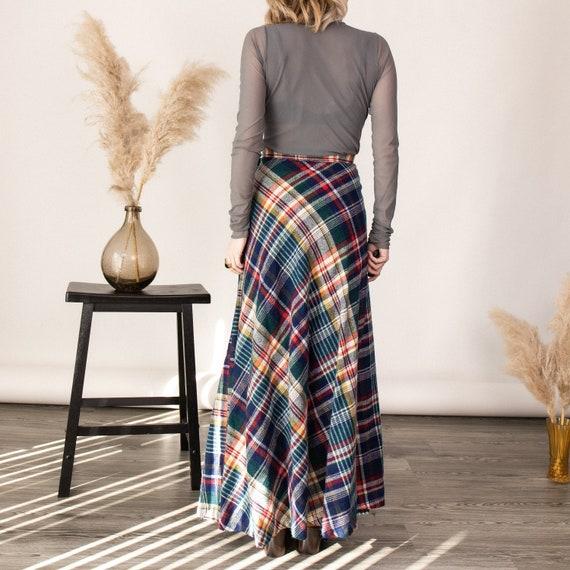 Vintage 70s tartan plaid wool pleated maxi skirt - image 9