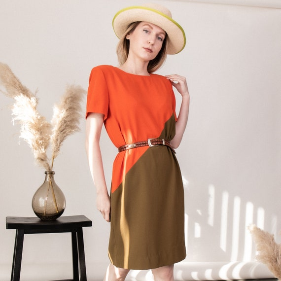 Vintage 90s color block orange boxy sack dress