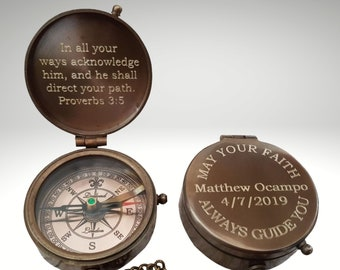 compass, baptism gift, personalized compass, fathers day gift, baptism compass, engraved compass, confirmation gift, groomsmen gift