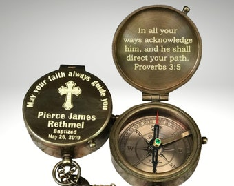 Compass, Engraved Compass, Baptism Gift, Baptism Compass, First Communion Gift Boy, Confirmation Gift, Personalized Compass