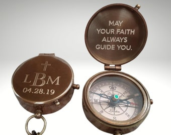 Baptism Compass, Engraved Compass, Personalized, Baptism Gift, Baptism Gift Boy, Confirmation Gifts, Baptism Gift Girl, First Communion Gift
