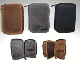 Custom Zipper Leather Wallet, Personalized Unisex Leather Wallet, Personalized Minimalist Leather Zipper Wallet, Credit Card Wallet