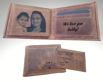 Mens Photo Wallet, Custom Mens Wallet, Handwriting Wallet For Men, Engraved Mens Wallet, Personalized Mens Wallet, Fathers Day Gift