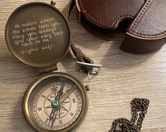 Engraved Compass, Personalized Compass, Custom Compass, Functional Working Compass, Anniversary Gift, Valentines Day Gift