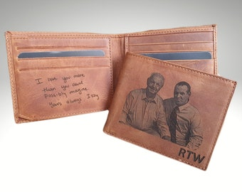 Custom Engraved Mens Photo Wallet, Personalized Mens Leather Wallet, Fathers Day Gift, Anniversary Day Gift, Mens Gift, Valentines Day Gift