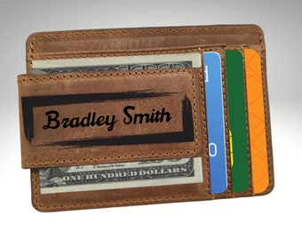 Custom Leather Money Clip, Personalized Genuine Leather Money Clip, Engraved Leather Money Clip, Custom Leather Credit Card Wallet