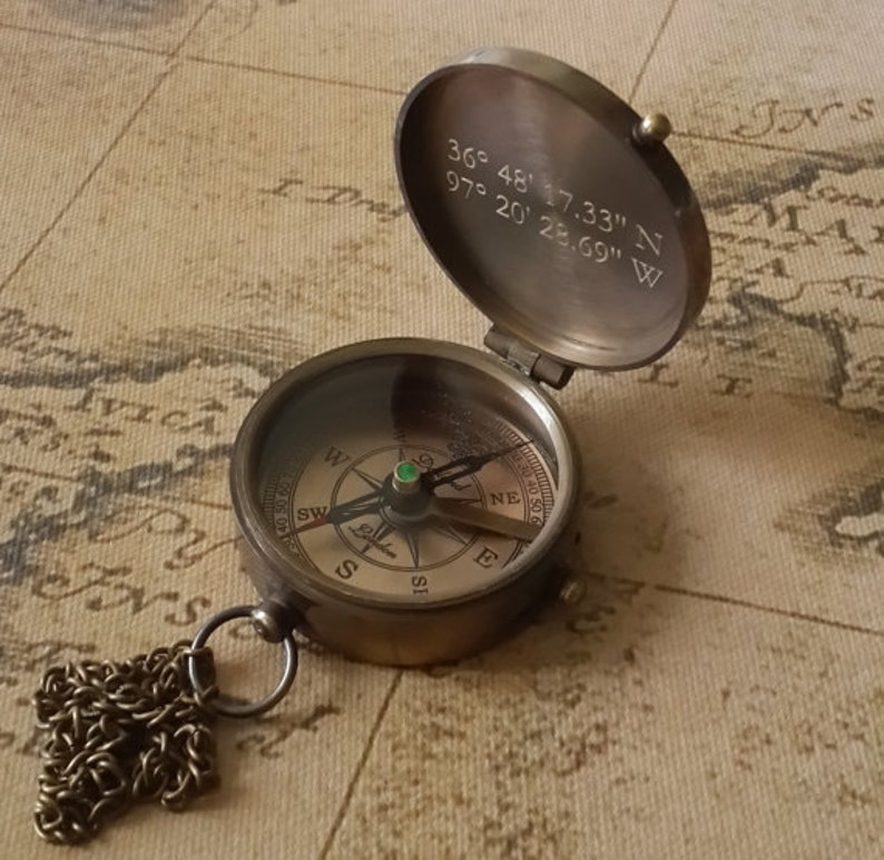 compass engraved compass personalized compass working image 0