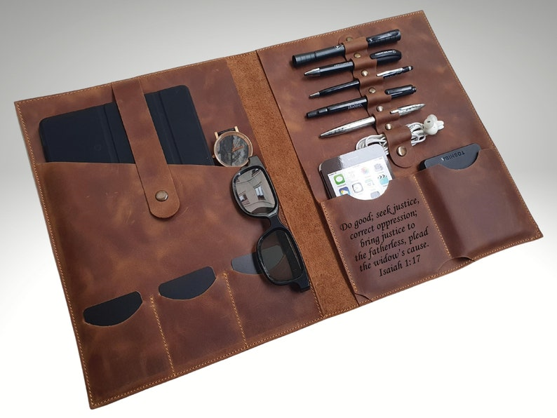 Personalized Leather Organizer Custom Leather Portfolio image 0