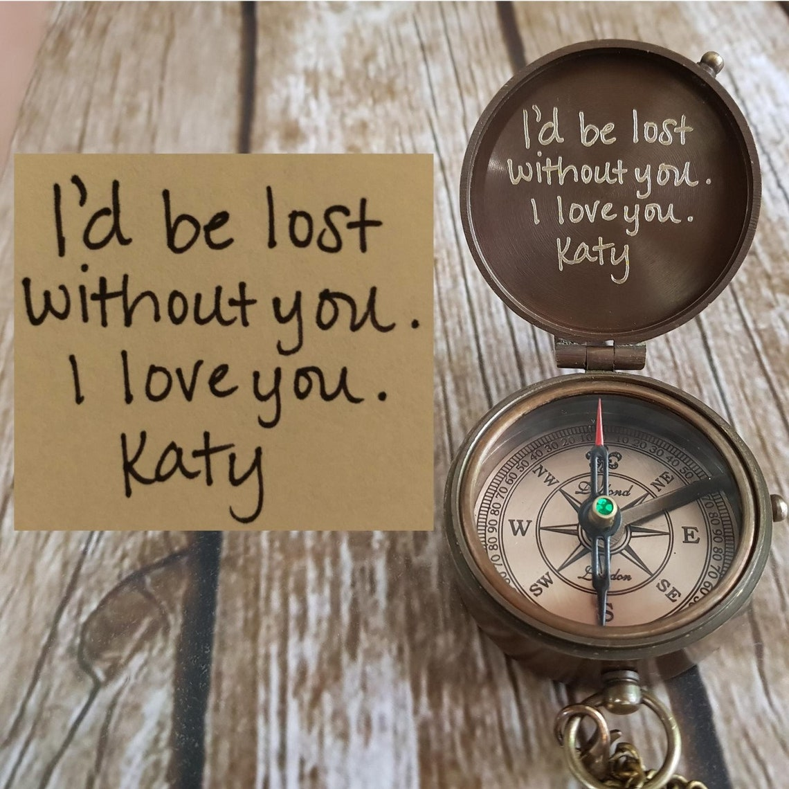 Your Handwriting Engraved Compass Personalized Compass image 0