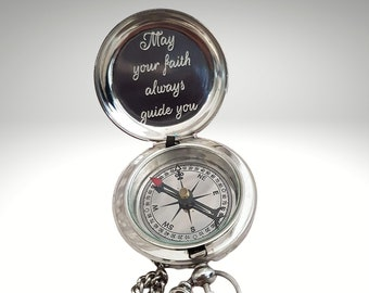 Handmade Silver Compass, Personalized Working Compass, Anniversary Gift, Baptism Gift, Engraved Compass, First Communion, Baptism Compass