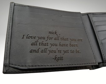 Mens Wallet, Personalized Mens Wallet, Engraved Mens Wallet, Custom Wallet, Photo Wallet, Fathers Day Gift, Valentines Day Gift, Mens Gift