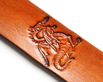 Leather Bookmark   Dragon