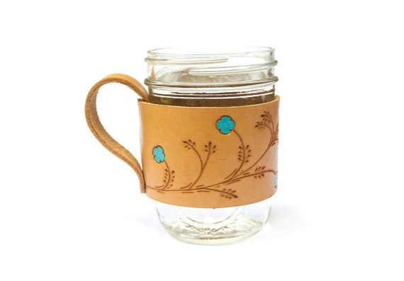 Floral Leather Glass Mason Jar Handle Sleeve Holder Grip Mug Etsy