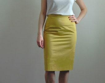 676f6eff1e96bc Organic cotton yellow pencil skirt