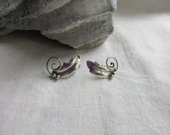 Vintage Sterling Leaf Earrings