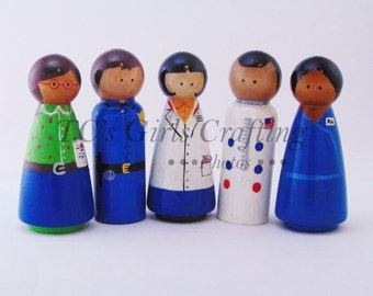 Profession peg, natural peg toy, Teacher, Policeman , Veterinarian peg people, Astronaut peg people, nurse peg people, peg toys, wooden toys