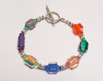 Multicolor Cane Glass Bracelet in Silver