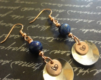 Lapis, Stamped copper, and Silver Earrings