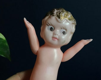 Celluloid Doll With Movable Arms Kewpie Made In Hong Kong
