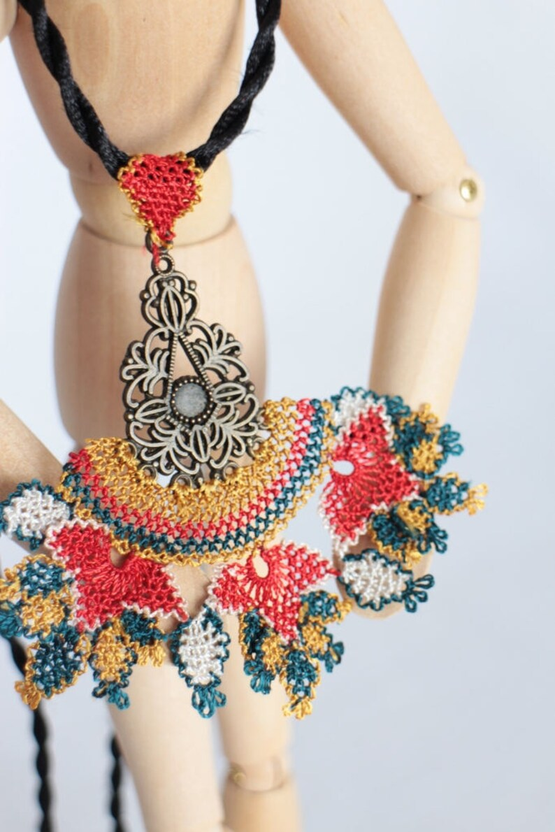 Crochet Pendant Handmade Needlework Historical Unique Art Special Gift For Her Traditional Needle Lace Jewelry Oya Necklace