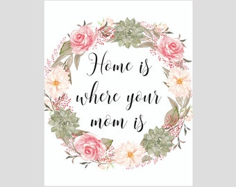 Home Is Where Your Mom Is Print, Mother's Day Gift, Gift for Mom, Home Decor, 8 x 10 Print