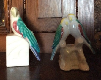 Two vintage Pottery bird planters good condition