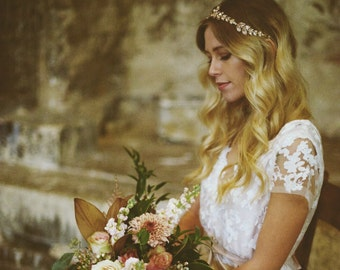 MIRANDA - Backless Boho Bridal Gown - Blush pink matt satin - ivory petal leaves in embroidered lace - romantic wedding dress - puddle train
