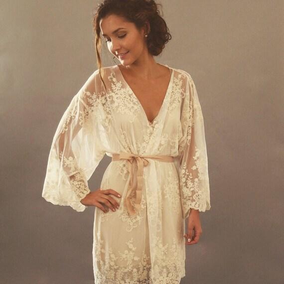 Bridal Robe To Get Ready In: Bridal Lingerie Lace Kimono Robe Bridal Underwear Bridal