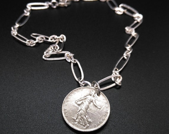 Coin Necklace in Silver Stretched Oval Link Chain with Silver One French Franc 1974 Coin Charm
