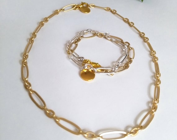 Chain Necklace with or Without Gold TierraCast Stamping Disc on a Matte Gold Oval Chain