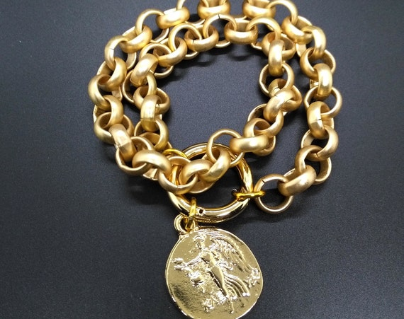 Chunky Gold Rolo Chain Bracelet in Matte Gold Plating over High Quality Brass with Gold Plated Sun Toggle