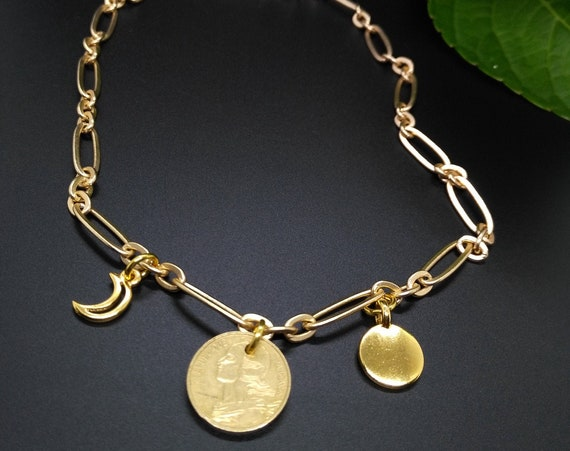 Chain Necklace in Gold Stretched Oval Link Chain with French 5 Cent Franc Coin, TierraCast Stamping Disc and Crescent Moon Charms