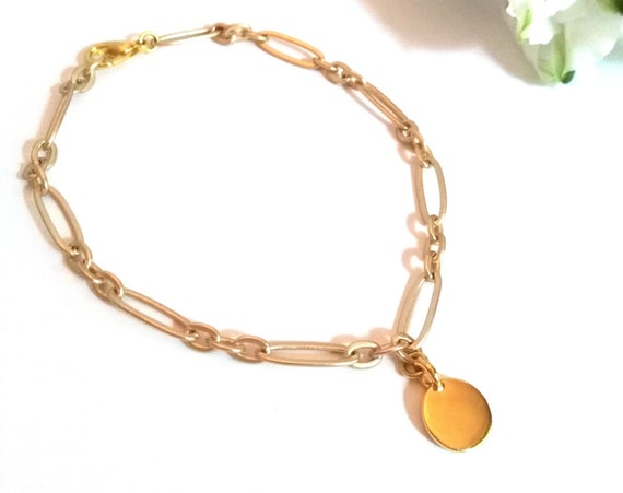 Anklet in Matte Gold Stretched Oval Link Chain with TierraCast Stamping Disc as Charm