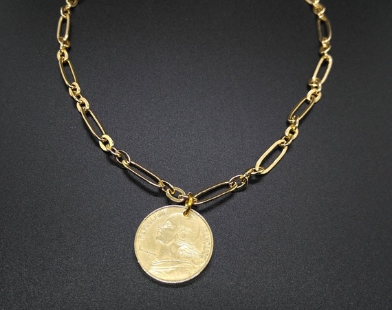 Gold Chain Layering Necklace in Long and Short Oval Link Chain with French 20 Centime Coin as Charm/Pendant
