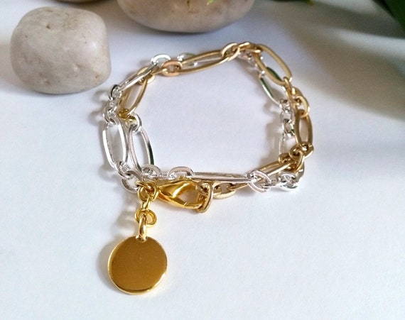 Mixed Metal Wrap Bracelet in Matte Gold and Shiny Silver Stretched Oval Chain with Gold TierraCast Stamping Disc Charm