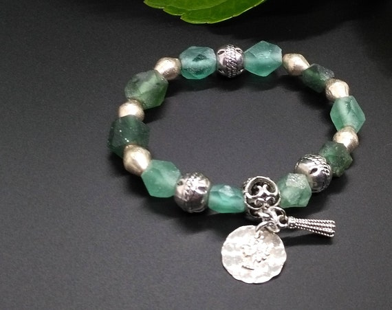 Beaded Bracelet w Ancient Roman Glass, Ethnic and Ethiopian Beads, Filigree Bail w Sterling Silver Tree of Life and Metal Tassel Charms