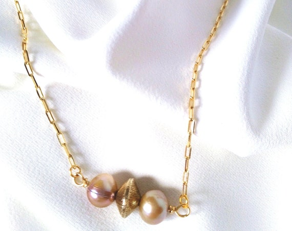 Pearl Bar Necklace in 18K Gold Filled Elongated Flat Cable Chain w/ Two Baroque Pearls and Gold Filled Bicone Bead, Valentines Gifts for Her