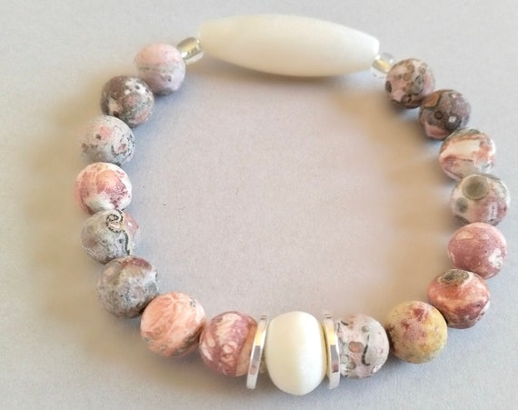 Stackable Gemstone Bracelet in Leopard Skin Jasper, White Bone and White Jade is Easily Stacked  with Other Bracelets in Our Collection