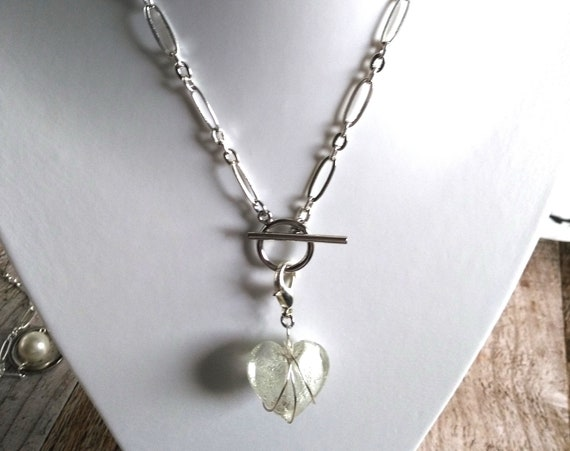 Heart Necklace Makes a Statement in Silver Plated Chunky Oval Link Chain and Wire Wrapped Heart Pendant